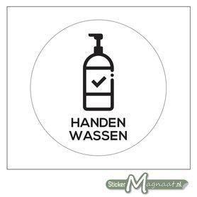 Handen Wassen Sticker (Wit)