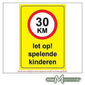 30 KM - Let op! Spelende Kinderen - Waarschuwingsstickers