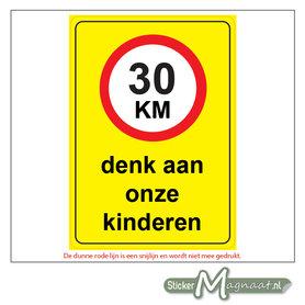 30 KM - Denk aan onze Kinderen - Waarschuwingsstickers
