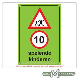 10 KM - Spelende Kinderen - Waarschuwingsstickers