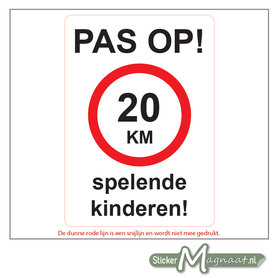 20 KM - Spelende Kinderen - Waarschuwingsstickers