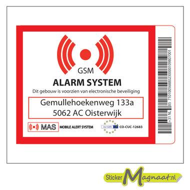 Beveiligings sticker met adres