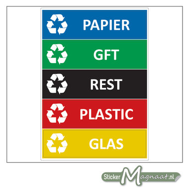 Afval stickers verschillende soorten