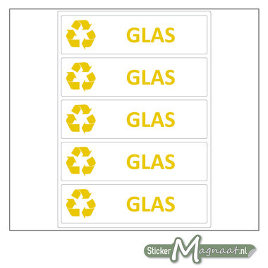 Afval stickers Glas
