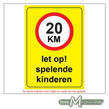 20 KM - Let op! Spelende Kinderen - Waarschuwingsstickers