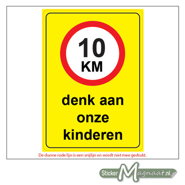 10 KM - Denk aan onze Kinderen - Waarschuwingsstickers