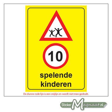 10 KM -Spelende Kinderen - Waarschuwingsstickers