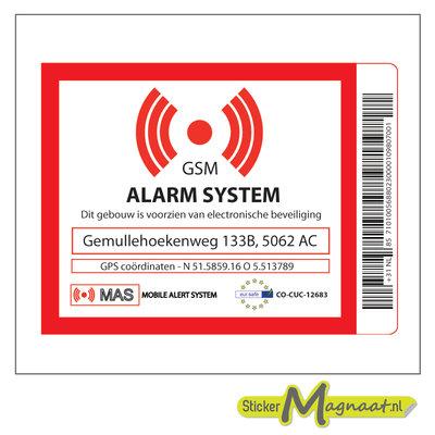Beveiligings sticker met adres en GPS Coördinaten