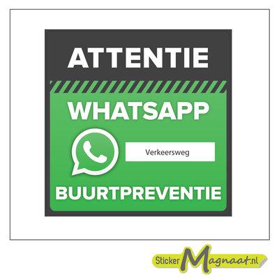 Bord WhatsApp wijkpreventie adres