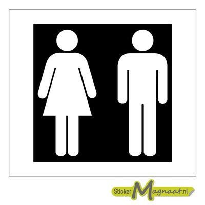Toilet deurstickers zwart wit