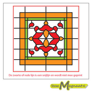 Glas in Lood Stickers - Oranje - Rood