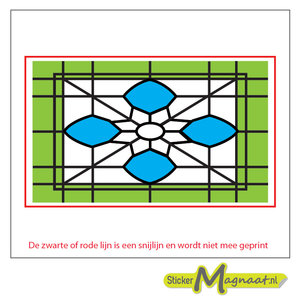 Glas in Lood Stickers - Groen - Blauw