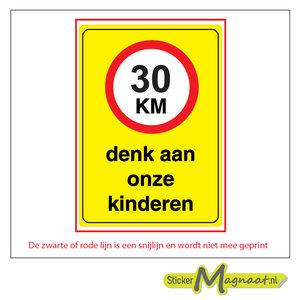 30 km denk aan onze kinderen sticker