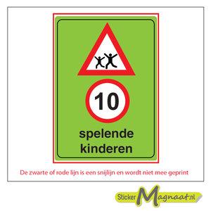 10 km spelende kinderen waarschuwing sticker