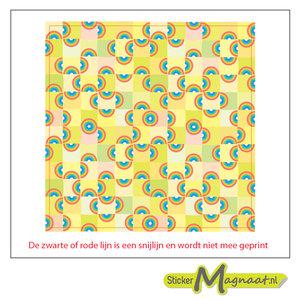 Tegel sticker kleurrijke halve cirkels