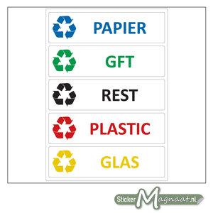 Afvalstickers verschillende soorten