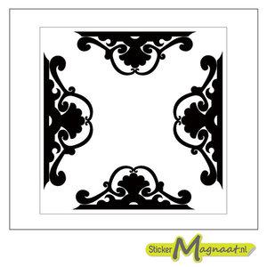 Tegelsticker patroon zwart wit barok