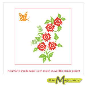 Tegelsticker arabische bloem gekleurd
