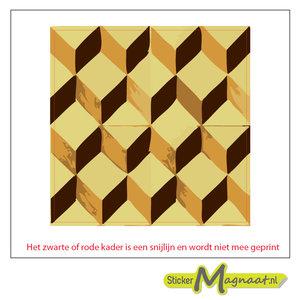 Tegelsticker 3d vierkanten