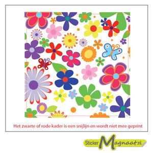 Tegelstickers bloemen kleur